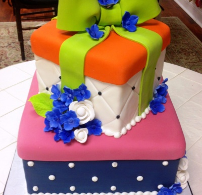 Girft Box Shower Cake